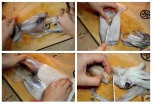 cách làm sạch mực ống